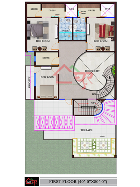 40X80 House Plan, North-West Facing