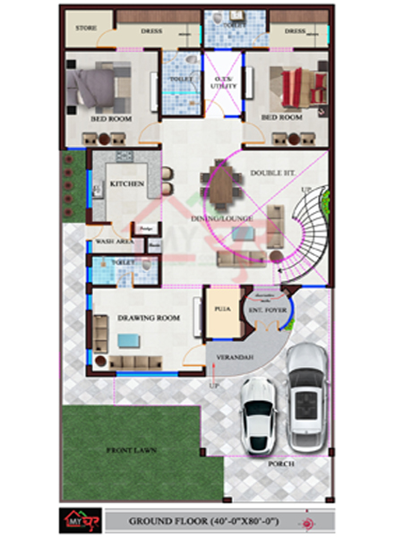 3d Perspective Drawing Room: 40X80 House Plan, North-West Facing